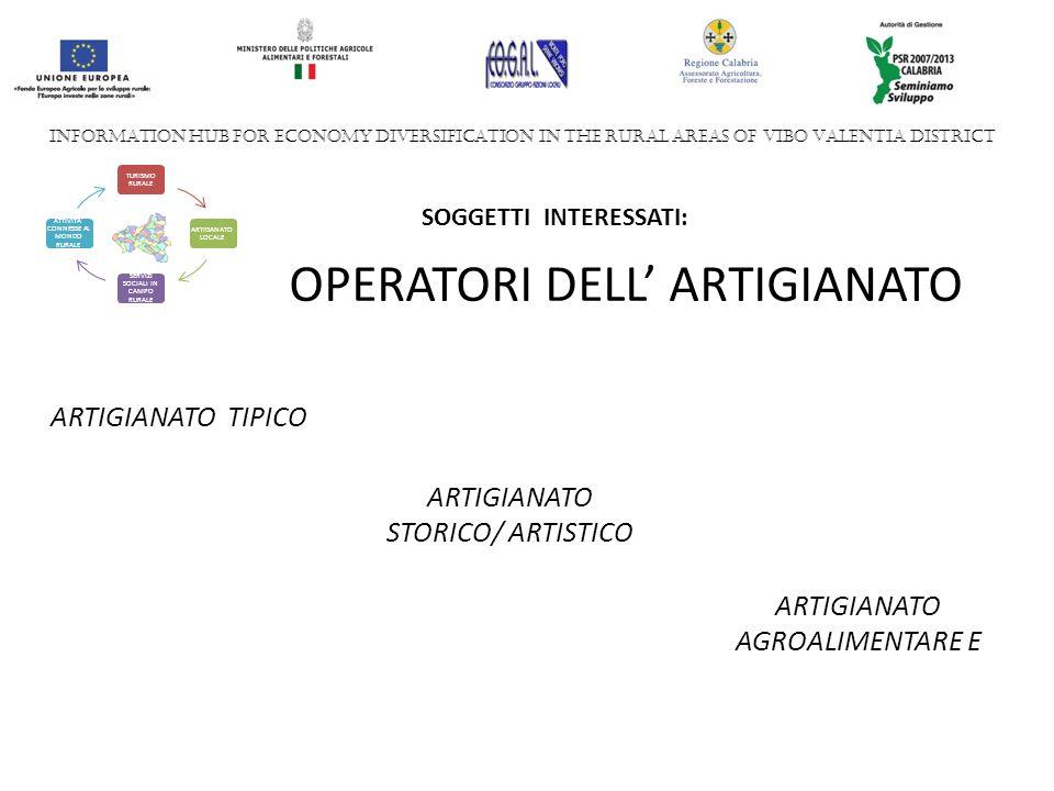 ARTIGIANATO TIPICO INFORMATION HUB FOR ECONOMY DIVERSIFICATION IN THE RURAL AREAS OF VIBO VALENTIA DISTRICT TURISMO RURALE ARTIGANATO LOCALE SERVIZI SOCIALI IN CAMPO RURALE ATTIVITA CONNESSE AL MONDO RURALE SOGGETTI INTERESSATI: OPERATORI DELL ARTIGIANATO ARTIGIANATO STORICO/ ARTISTICO ARTIGIANATO AGROALIMENTARE E