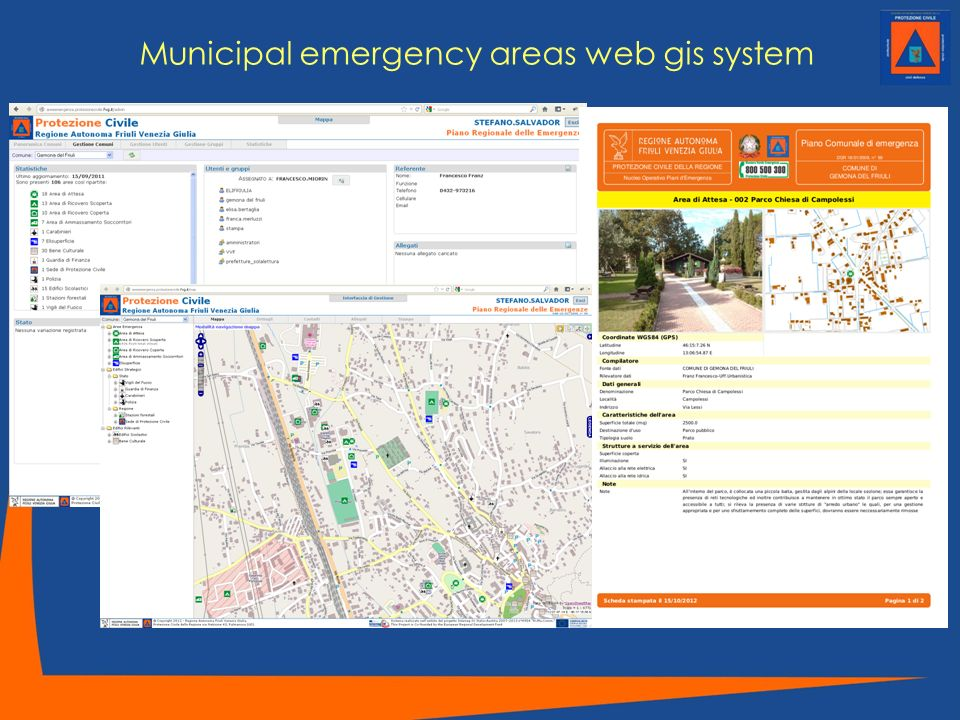Municipal emergency areas web gis system