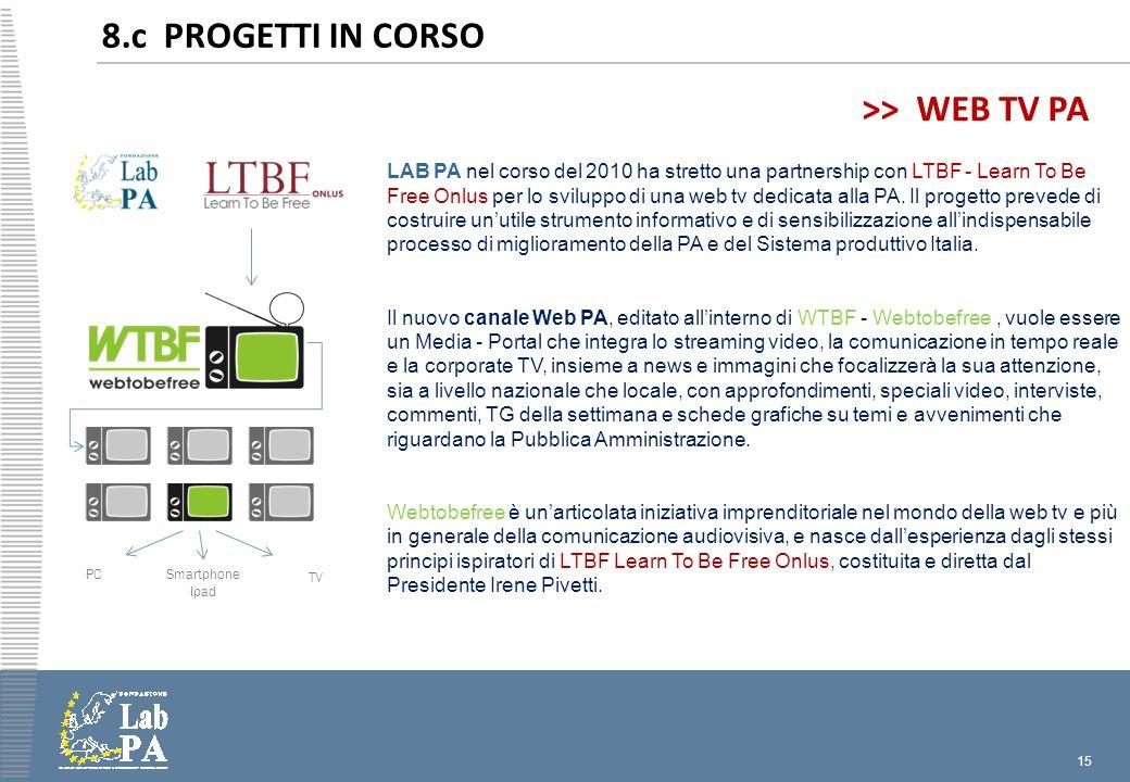 15 8.c PROGETTI IN CORSO LAB PA nel corso del 2010 ha stretto una partnership con LTBF - Learn To Be Free Onlus per lo sviluppo di una web tv dedicata alla PA.