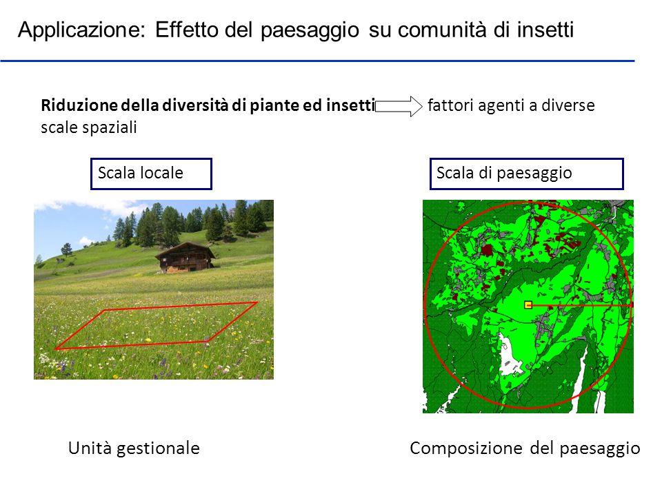 Applicazione: Effetto del paesaggio su comunità di insetti Riduzione della diversità di piante ed insetti fattori agenti a diverse scale spaziali Scal