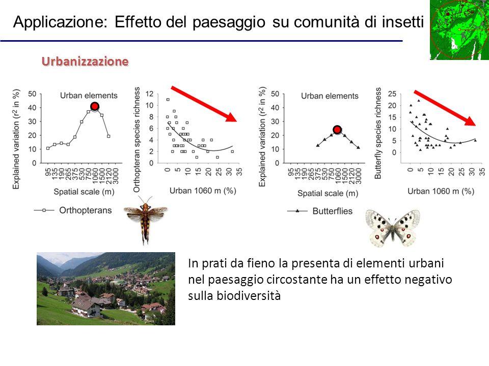 In prati da fieno la presenta di elementi urbani nel paesaggio circostante ha un effetto negativo sulla biodiversità Urbanizzazione Applicazione: Effe