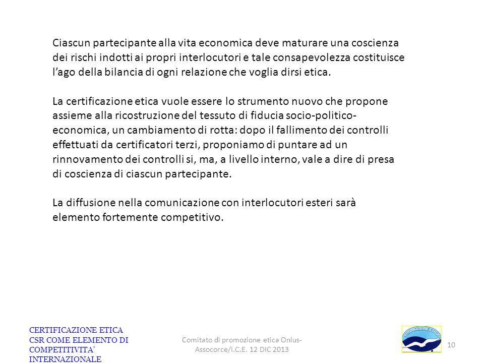 CERTIFICAZIONE ETICA CSR COME ELEMENTO DI COMPETITIVITA' INTERNAZIONALE Comitato di promozione etica Onlus- Assocorce/I.C.E. 12 DIC 2013 10 Ciascun pa