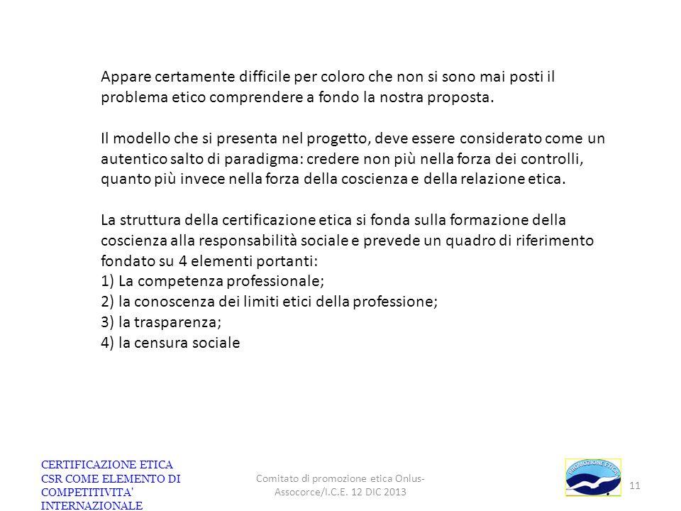 CERTIFICAZIONE ETICA CSR COME ELEMENTO DI COMPETITIVITA' INTERNAZIONALE Comitato di promozione etica Onlus- Assocorce/I.C.E. 12 DIC 2013 11 Appare cer