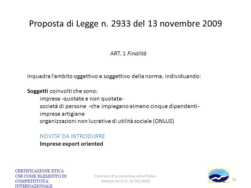 Proposta di Legge n. 2933 del 13 novembre 2009 ART. 1 Finalità Inquadra lambito oggettivo e soggettivo della norma, individuando: Soggetti coinvolti c