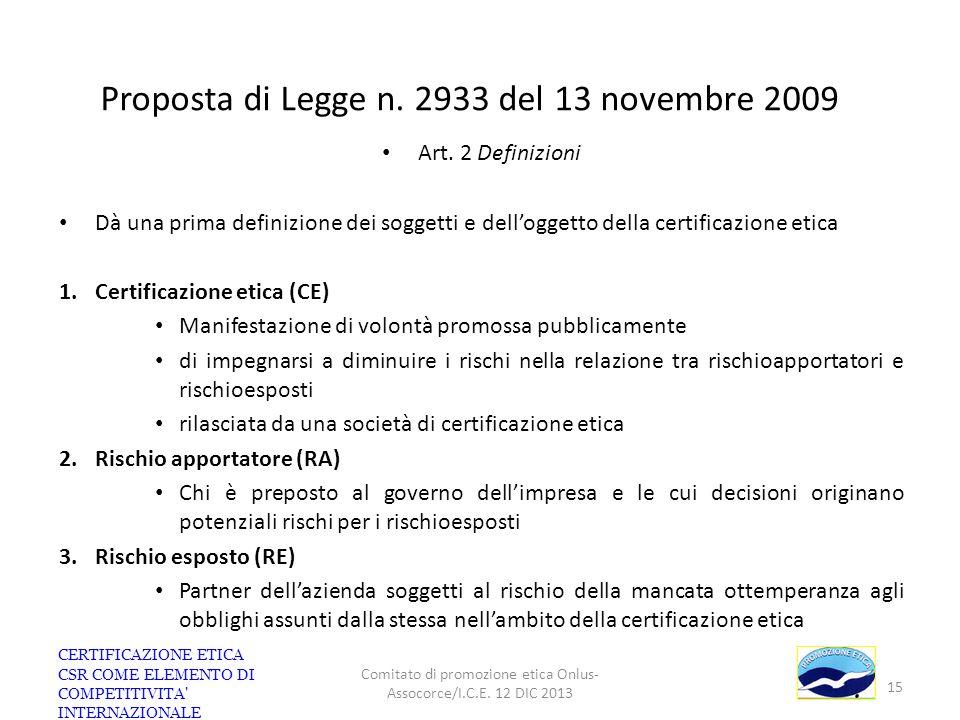 Proposta di Legge n. 2933 del 13 novembre 2009 Art. 2 Definizioni Dà una prima definizione dei soggetti e delloggetto della certificazione etica 1.Cer