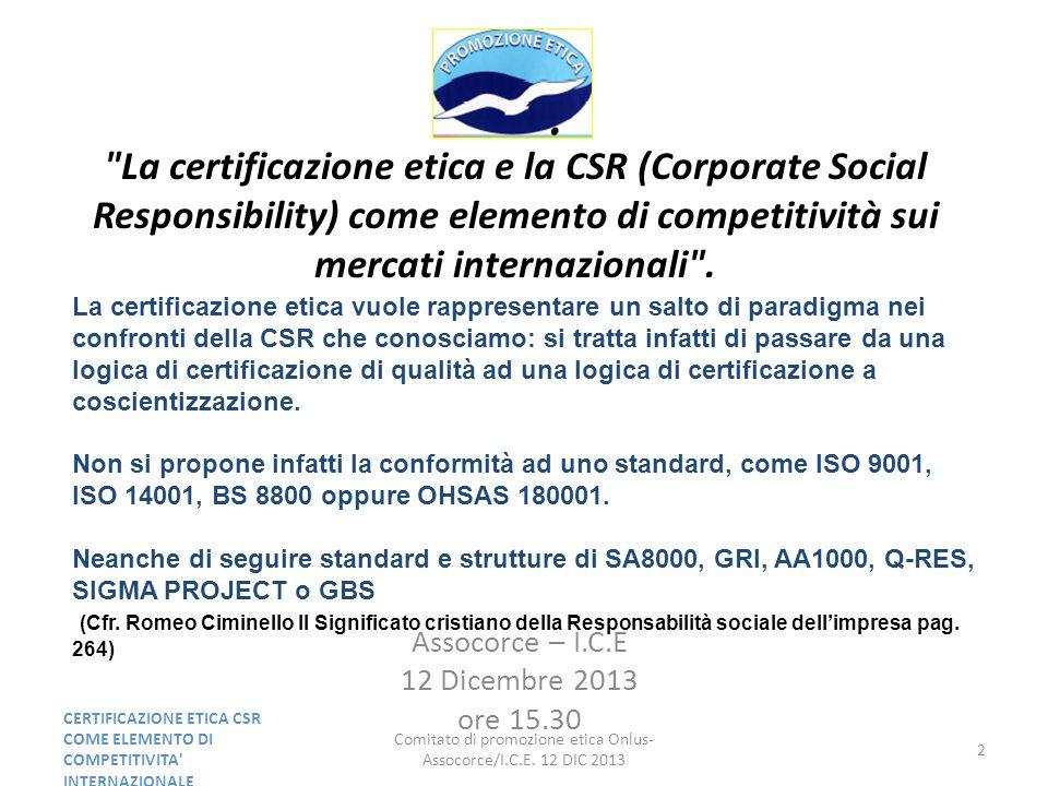 Comitato di promozione etica Onlus- Assocorce/I.C.E.
