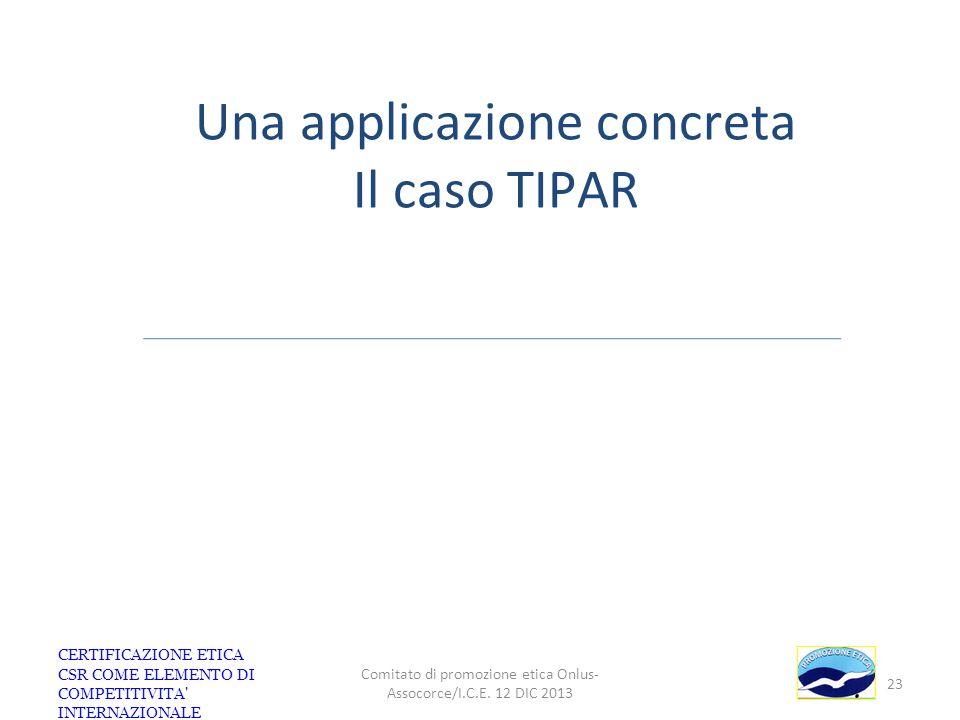 CERTIFICAZIONE ETICA CSR COME ELEMENTO DI COMPETITIVITA' INTERNAZIONALE Comitato di promozione etica Onlus- Assocorce/I.C.E. 12 DIC 2013 23 Una applic