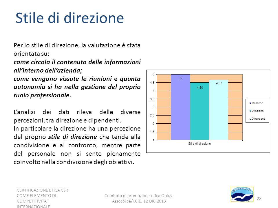 Stile di direzione Per lo stile di direzione, la valutazione è stata orientata su: come circola il contenuto delle informazioni allinterno dellazienda