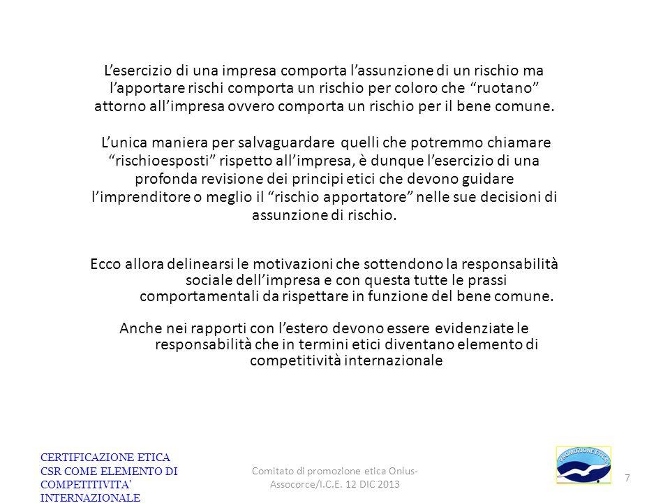 Impresa e Stakeholder di riferimento anche in ambiente Export/Import IMPRESA Export oriented Clienti domestici ed esteri Investitori Fornitori domestici ed esteri ed esteri Concorrenti esteri Società Civile ONG Comunità Locali Personale PubblicheAmministrazioni CERTIFICAZIONE ETICA CSR COME ELEMENTO DI COMPETITIVITA INTERNAZIONALE Comitato di promozione etica Onlus- Assocorce/I.C.E.
