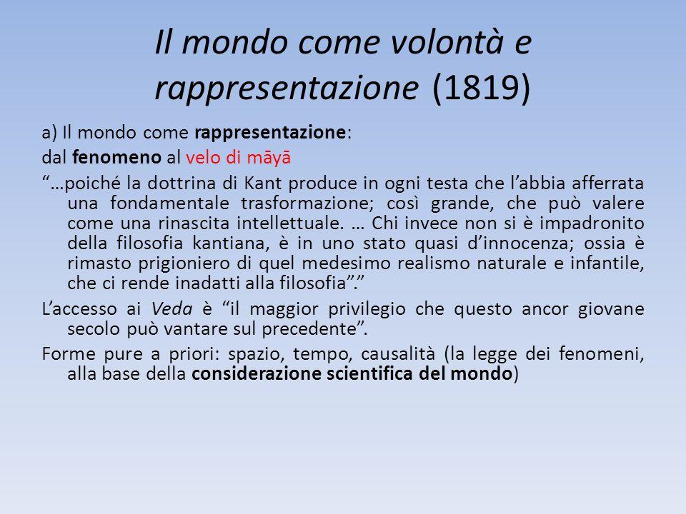 Il mondo come volontà e rappresentazione (1819) a) Il mondo come rappresentazione: dal fenomeno al velo di māyā …poiché la dottrina di Kant produce in