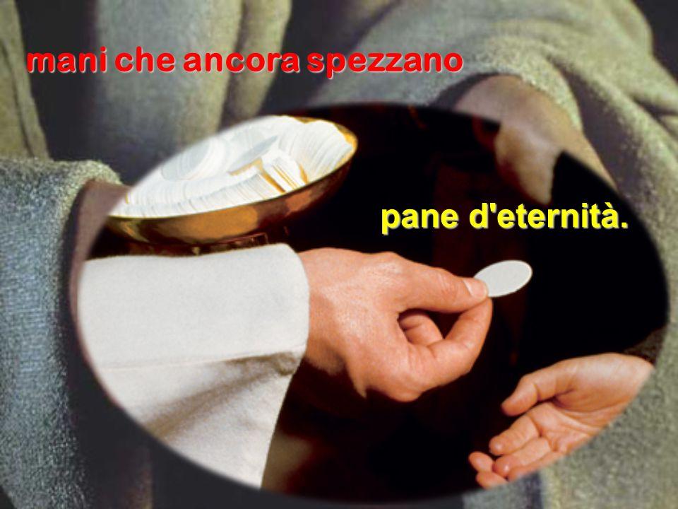 mani che ancora spezzano pane d'eternità.