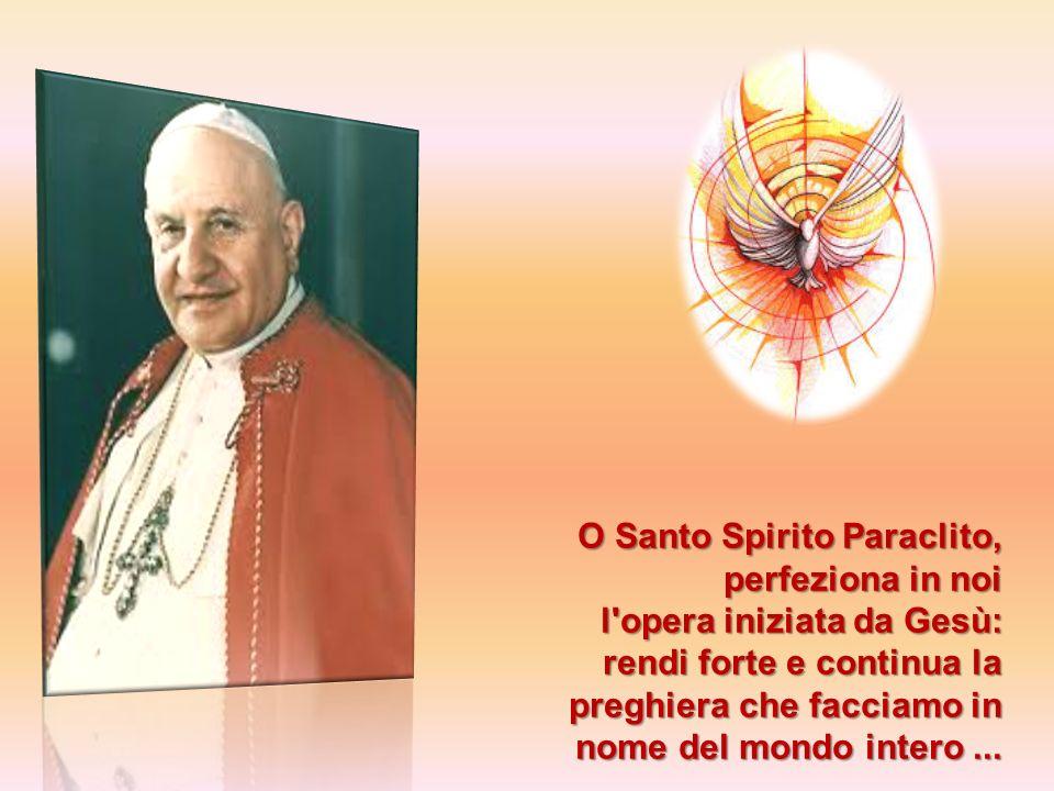 O Santo Spirito Paraclito, perfeziona in noi l'opera iniziata da Gesù: rendi forte e continua la preghiera che facciamo in nome del mondo intero...