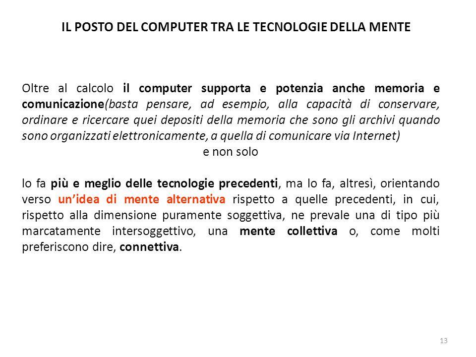 13 IL POSTO DEL COMPUTER TRA LE TECNOLOGIE DELLA MENTE Oltre al calcolo il computer supporta e potenzia anche memoria e comunicazione(basta pensare, a