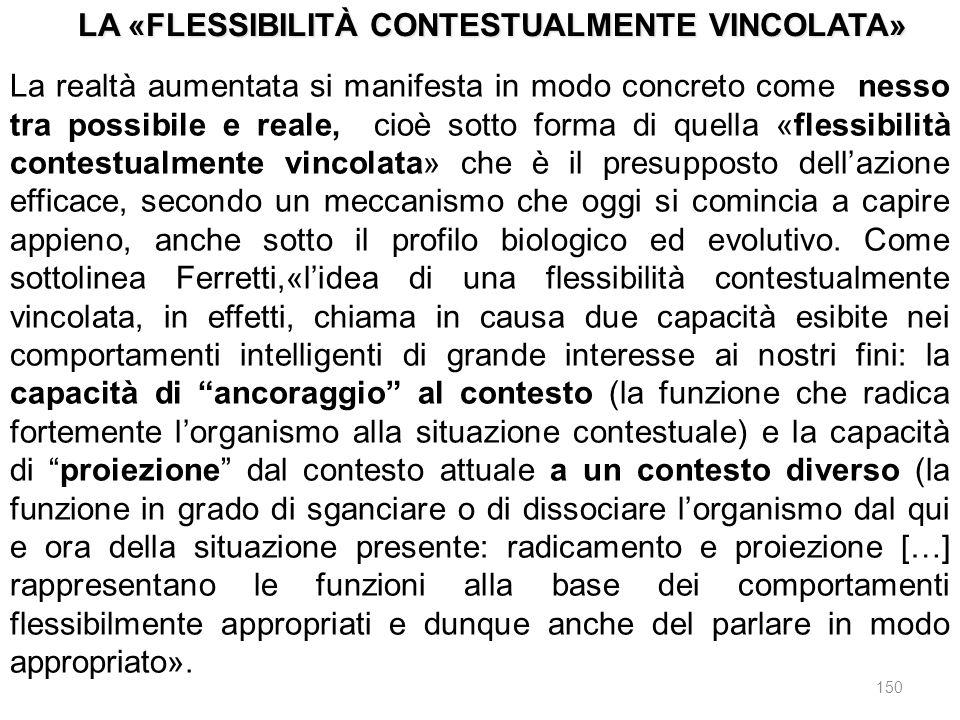 150 La realtà aumentata si manifesta in modo concreto come nesso tra possibile e reale, cioè sotto forma di quella «flessibilità contestualmente vinco
