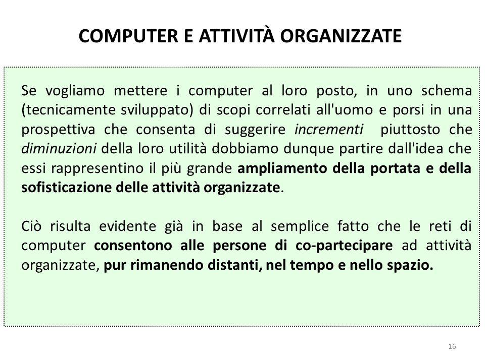 16 Se vogliamo mettere i computer al loro posto, in uno schema (tecnicamente sviluppato) di scopi correlati all'uomo e porsi in una prospettiva che co