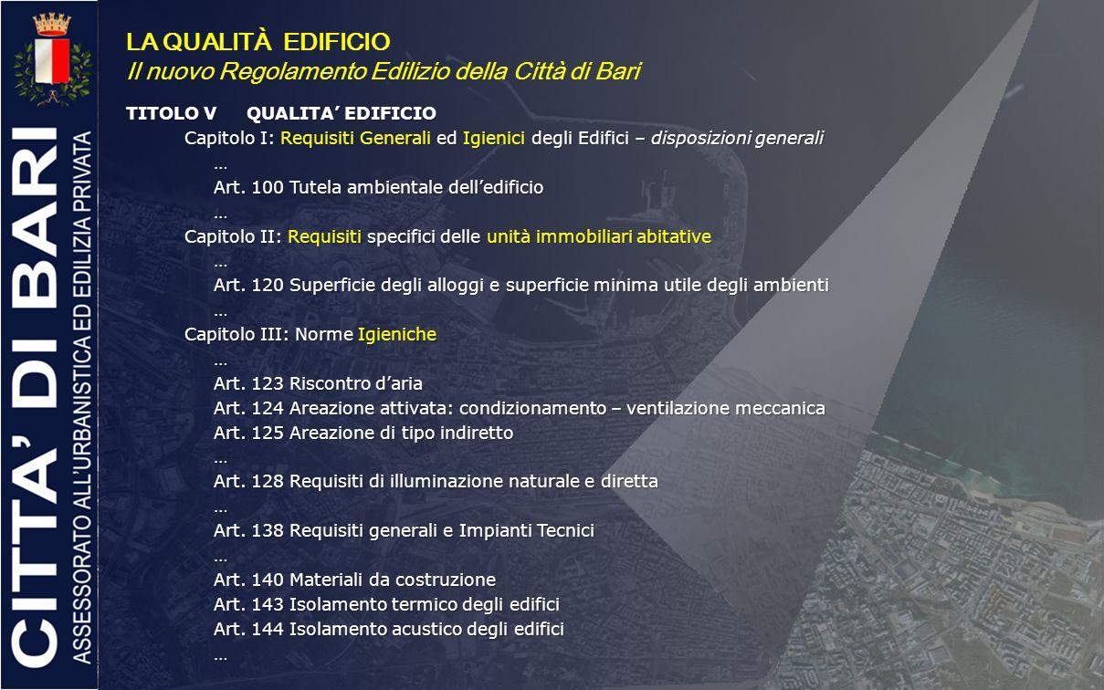 LA QUALITÀ EDIFICIO Il nuovo Regolamento Edilizio della Città di Bari TITOLO VQUALITA EDIFICIO Capitolo I: Requisiti Generali ed Igienici degli Edific