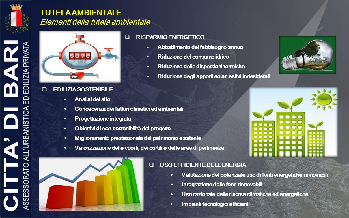TUTELA AMBIENTALE Elementi della tutela ambientale RISPARMIO ENERGETICO Abbattimento del fabbisogno annuo Riduzione del consumo idrico Riduzione delle