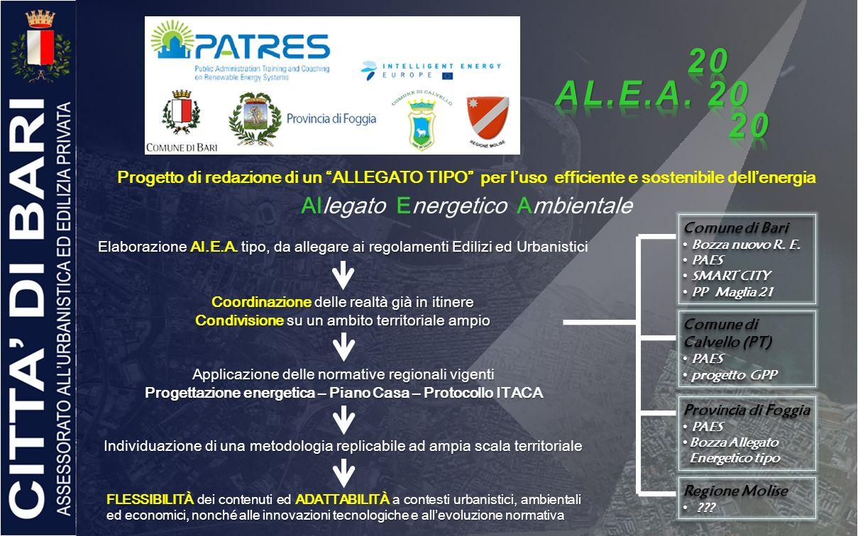 Progetto di redazione di un ALLEGATO TIPO per luso efficiente e sostenibile dellenergia Allegato Energetico Ambientale Elaborazione Al.E.A. tipo, da a