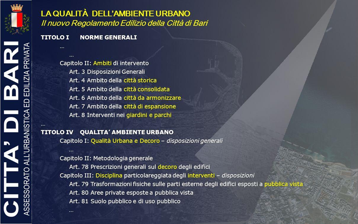 LA QUALITÀ DELLAMBIENTE URBANO Il nuovo Regolamento Edilizio della Città di Bari TITOLO INORME GENERALI …… Capitolo II: Ambiti di intervento Art. 3 Di