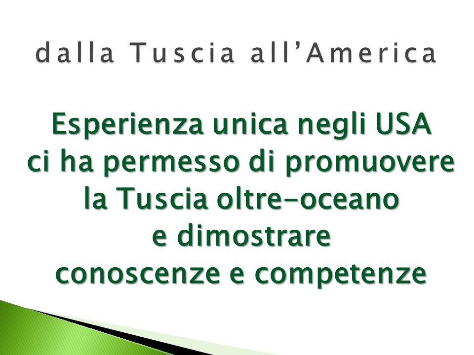 Esperienza unica negli USA ci ha permesso di promuovere la Tuscia oltre-oceano e dimostrare conoscenze e competenze
