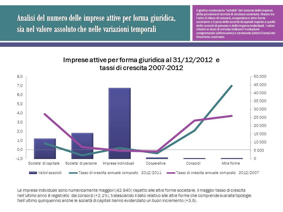 Il grafico evidenzia la solidità del sistema delle imprese della provincia in termini di struttura societaria. Illustra tra laltro il rilievo di conso
