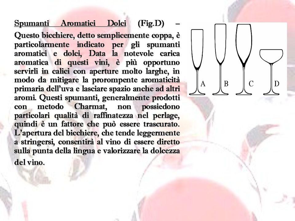 Spumanti Aromatici Dolci (Fig.D) – Questo bicchiere, detto semplicemente coppa, è particolarmente indicato per gli spumanti aromatici e dolci, Data la
