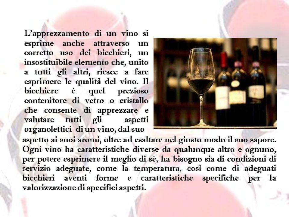 Lapprezzamento di un vino si esprime anche attraverso un corretto uso dei bicchieri, un insostituibile elemento che, unito a tutti gli altri, riesce a