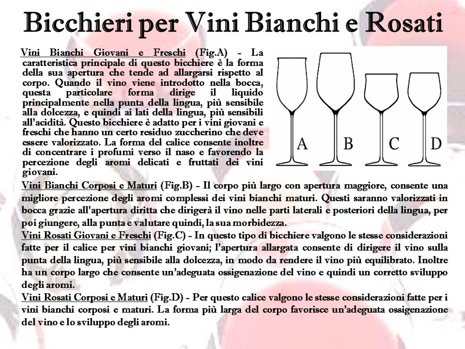 Bicchieri per Vini Rossi Vini Rossi Giovani (Fig.A) - Questo bicchiere è essenzialmente uguale a quello utilizzato per i vini bianchi corposi e maturi, di fatto si può utilizzare tranquillamente lo stesso bicchiere.