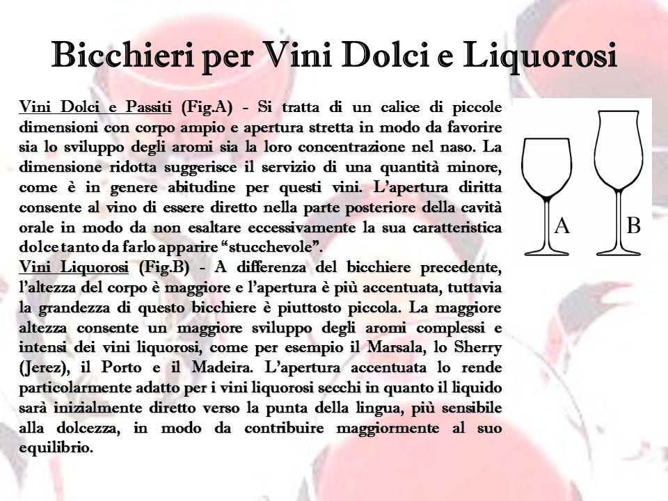 Bicchieri per Vini Dolci e Liquorosi dimensioni con corpo ampio e apertura stretta in modo da favorire sia lo sviluppo degli aromi sia la loro concent