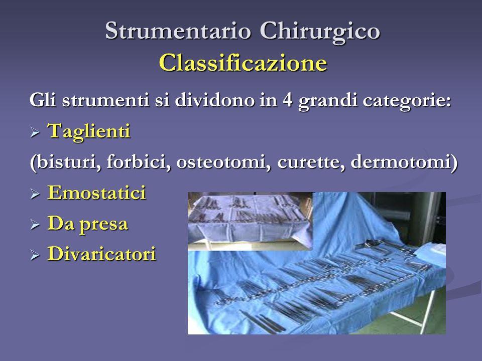 Strumentario Chirurgico Classificazione Gli strumenti si dividono in 4 grandi categorie: Taglienti Taglienti (bisturi, forbici, osteotomi, curette, de