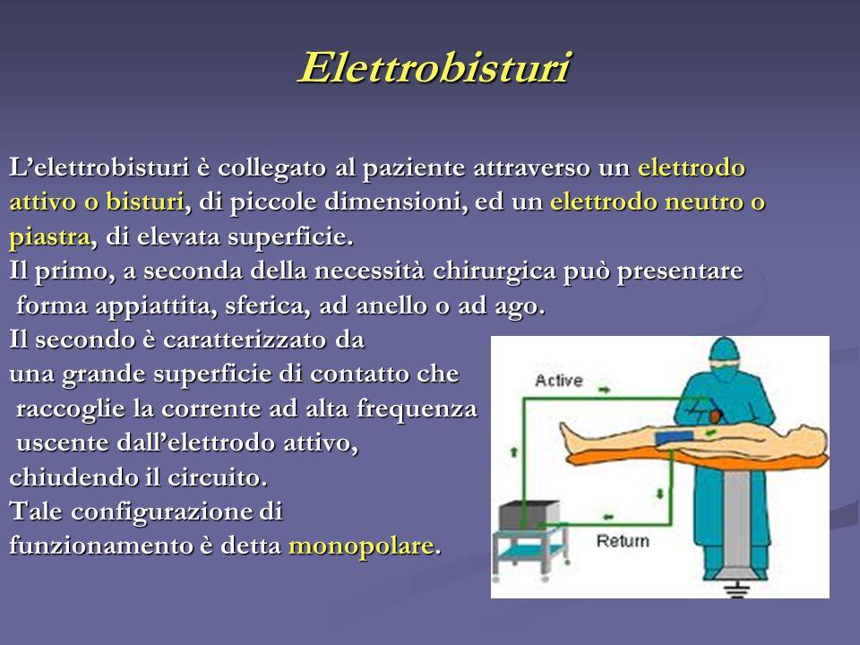 Elettrobisturi Lelettrobisturi è collegato al paziente attraverso un elettrodo attivo o bisturi, di piccole dimensioni, ed un elettrodo neutro o piast