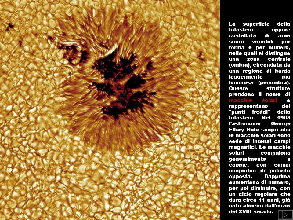 IL SOLE Le reazioni di fusione dell idrogeno in elio del Sole hanno luogo nel nucleo, dove la densità dei gas è circa 150 volte superiore a quella dell acqua e la temperatura arriva a 14 milioni °C.