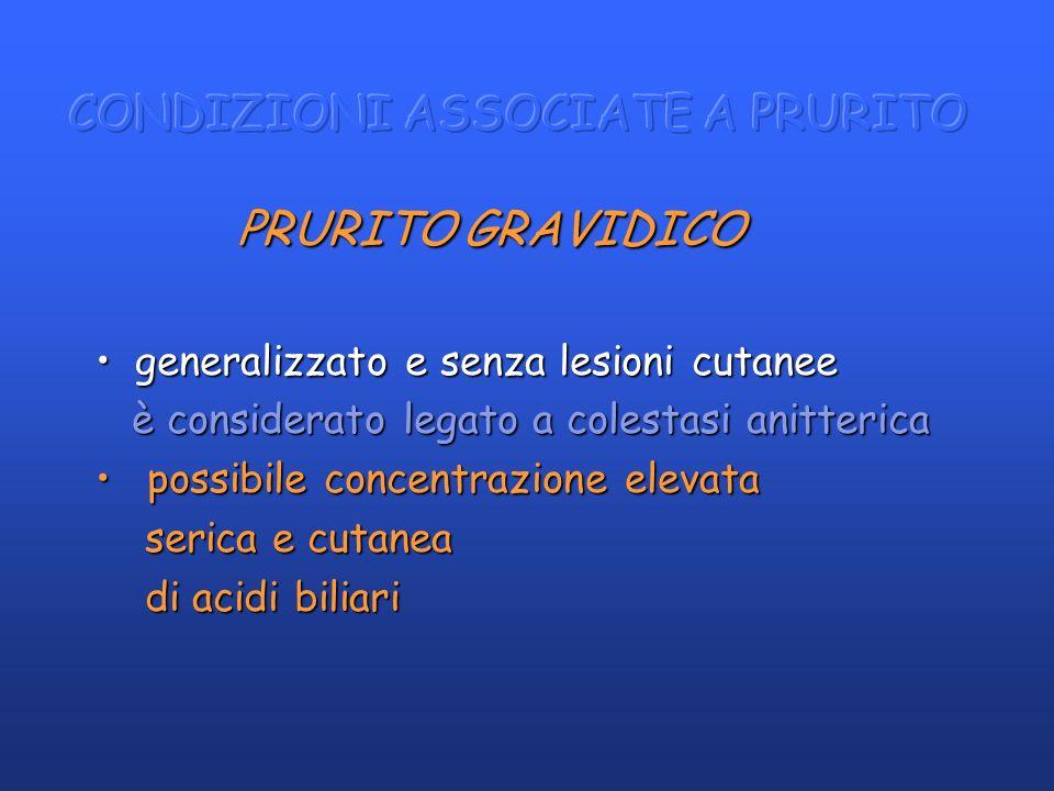 PRURITO GRAVIDICO PRURITO GRAVIDICO generalizzato e senza lesioni cutaneegeneralizzato e senza lesioni cutanee è considerato legato a colestasi anitte