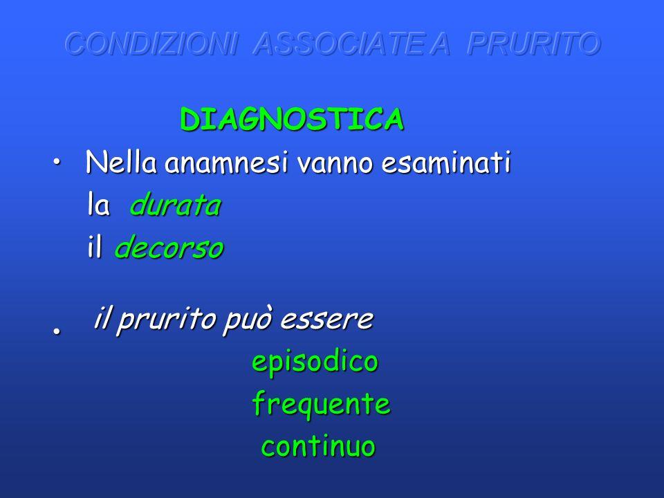 DIAGNOSTICA DIAGNOSTICA Nella anamnesi vanno esaminati Nella anamnesi vanno esaminati la durata la durata il decorso il decorso il prurito può essere