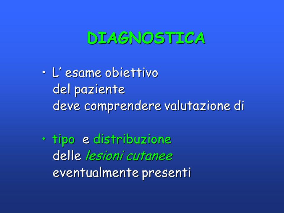 DIAGNOSTICA DIAGNOSTICA L esame obiettivoL esame obiettivo del paziente del paziente deve comprendere valutazione di deve comprendere valutazione di t