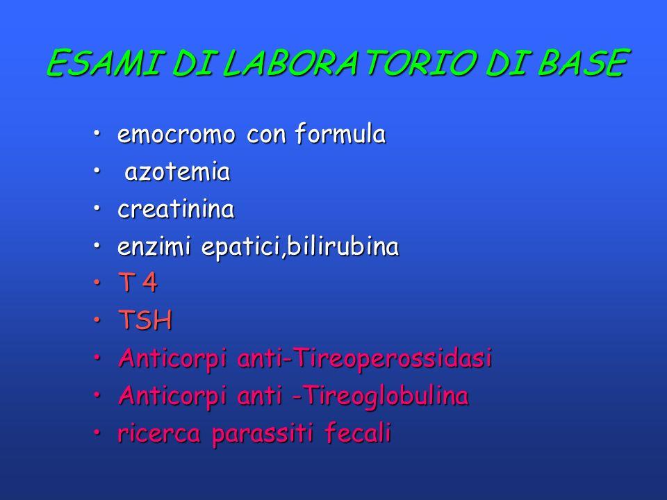 ESAMI DI LABORATORIO DI BASE emocromo con formulaemocromo con formula azotemia azotemia creatininacreatinina enzimi epatici,bilirubinaenzimi epatici,b