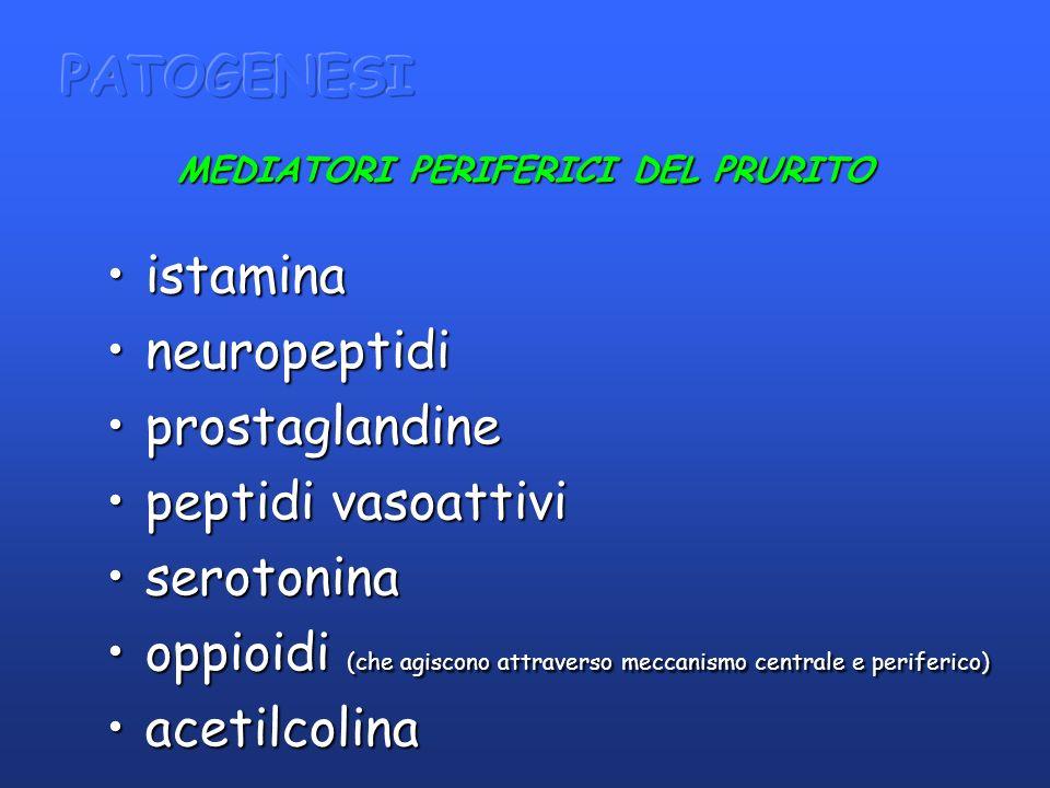 MEDIATORI PERIFERICI DEL PRURITO istaminaistamina neuropeptidineuropeptidi prostaglandineprostaglandine peptidi vasoattivipeptidi vasoattivi serotonin