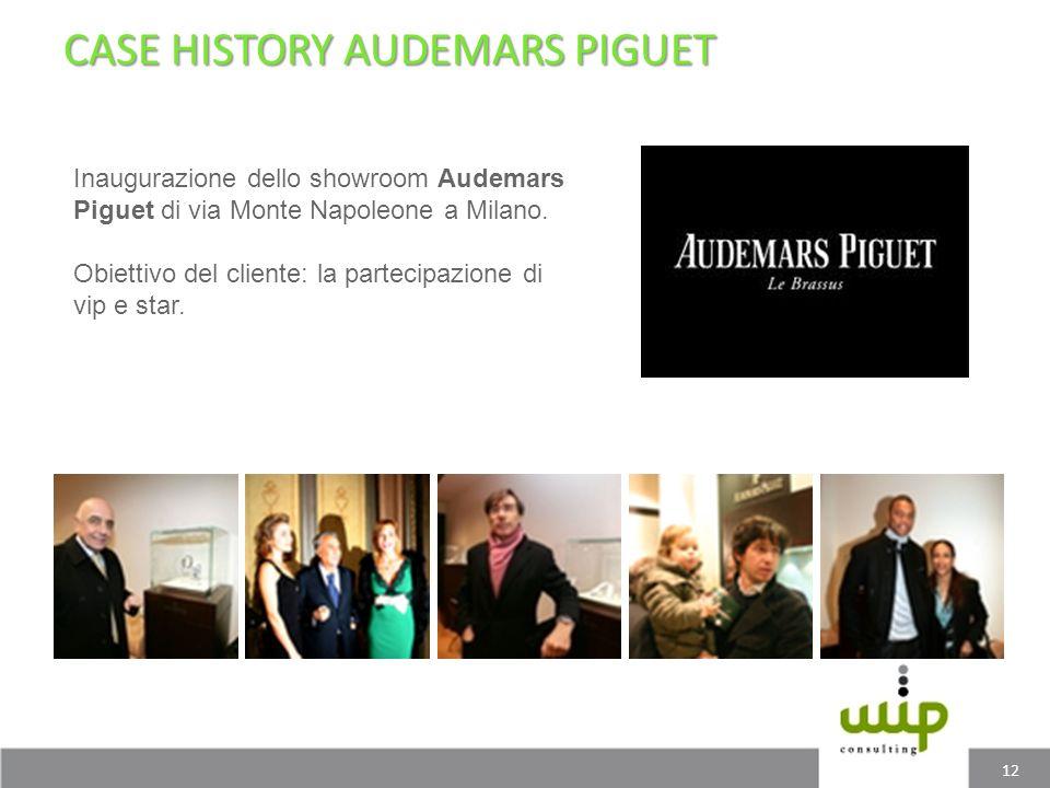 CASE HISTORY AUDEMARS PIGUET 12 Inaugurazione dello showroom Audemars Piguet di via Monte Napoleone a Milano. Obiettivo del cliente: la partecipazione