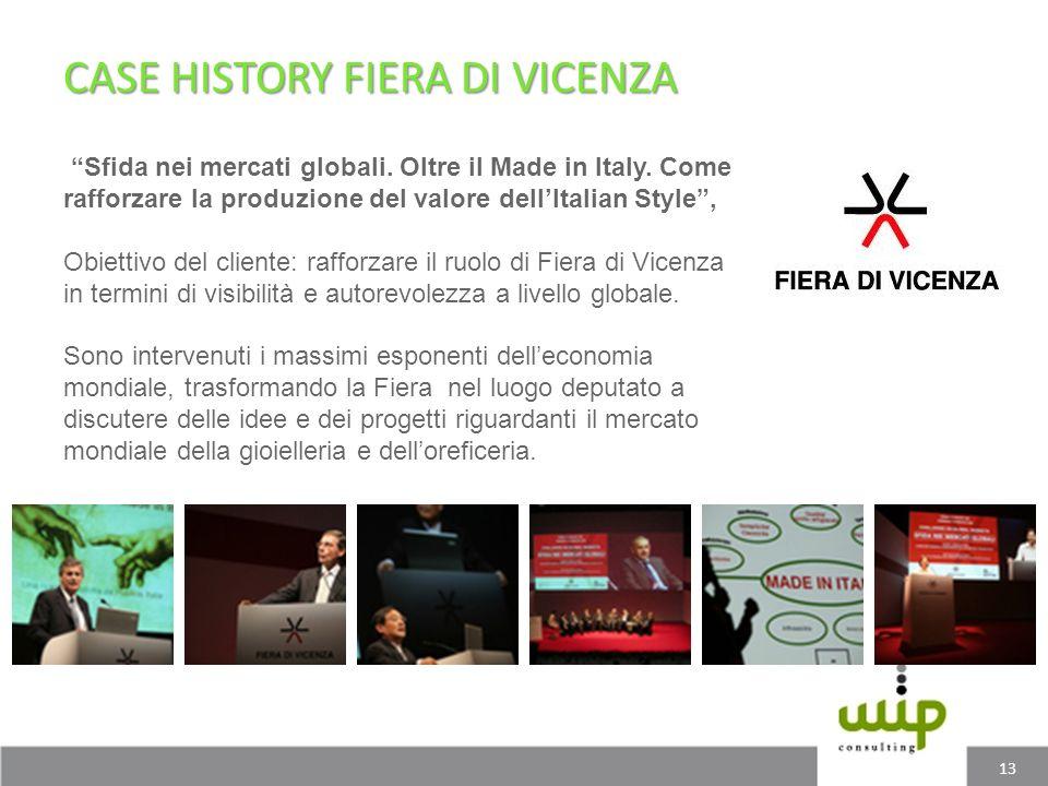 CASE HISTORY FIERA DI VICENZA 13 Sfida nei mercati globali. Oltre il Made in Italy. Come rafforzare la produzione del valore dellItalian Style, Obiett