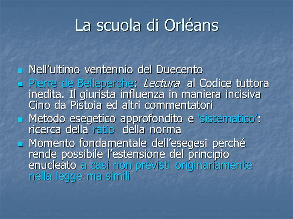La scuola di Orléans Nellultimo ventennio del Duecento Nellultimo ventennio del Duecento Pierre de Belleperche: Lectura al Codice tuttora inedita. Il