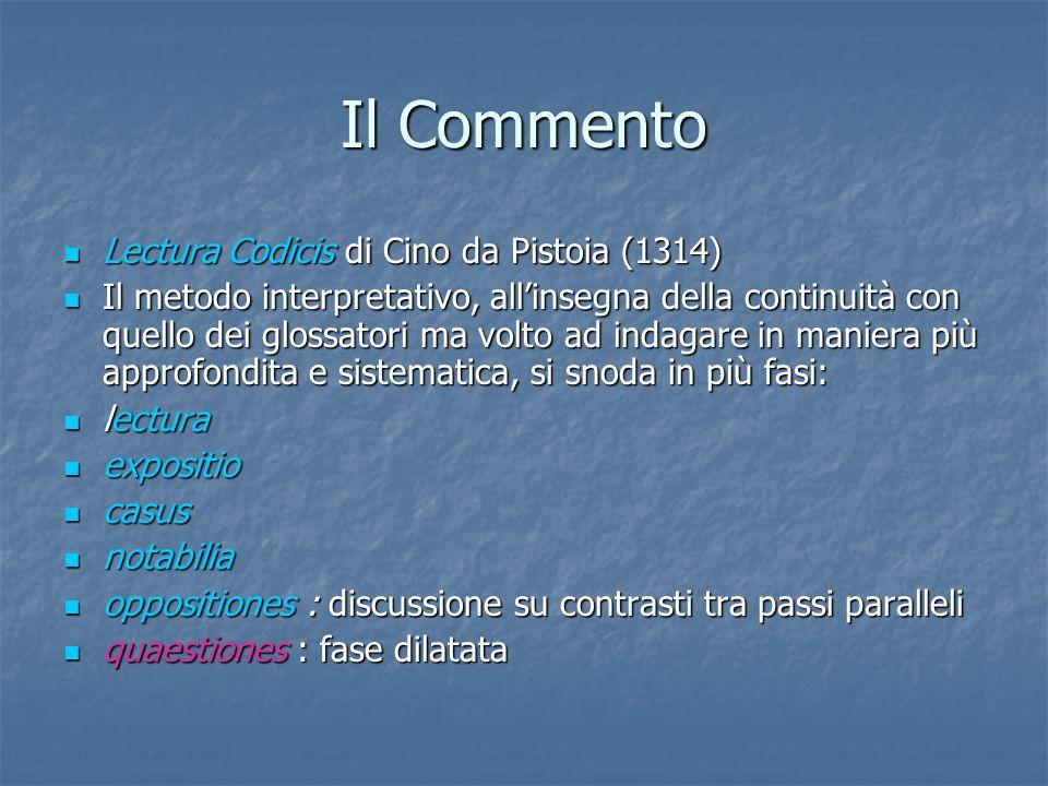Il Commento Lectura Codicis di Cino da Pistoia (1314) Lectura Codicis di Cino da Pistoia (1314) Il metodo interpretativo, allinsegna della continuità