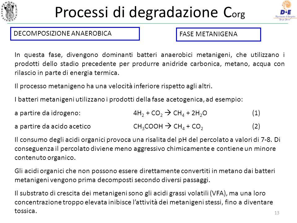 Processi di degradazione C org 13 In questa fase, divengono dominanti batteri anaerobici metanigeni, che utilizzano i prodotti dello stadio precedente per produrre anidride carbonica, metano, acqua con rilascio in parte di energia termica.