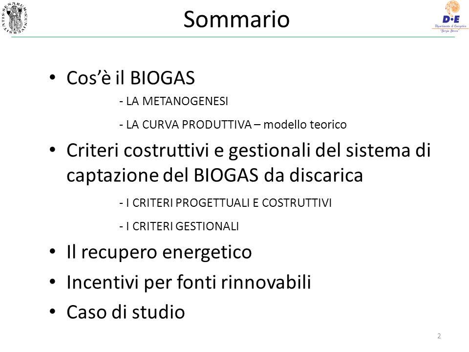 Cosa è il BIOGAS Prodotto dei processi di degrazione della materia organica.
