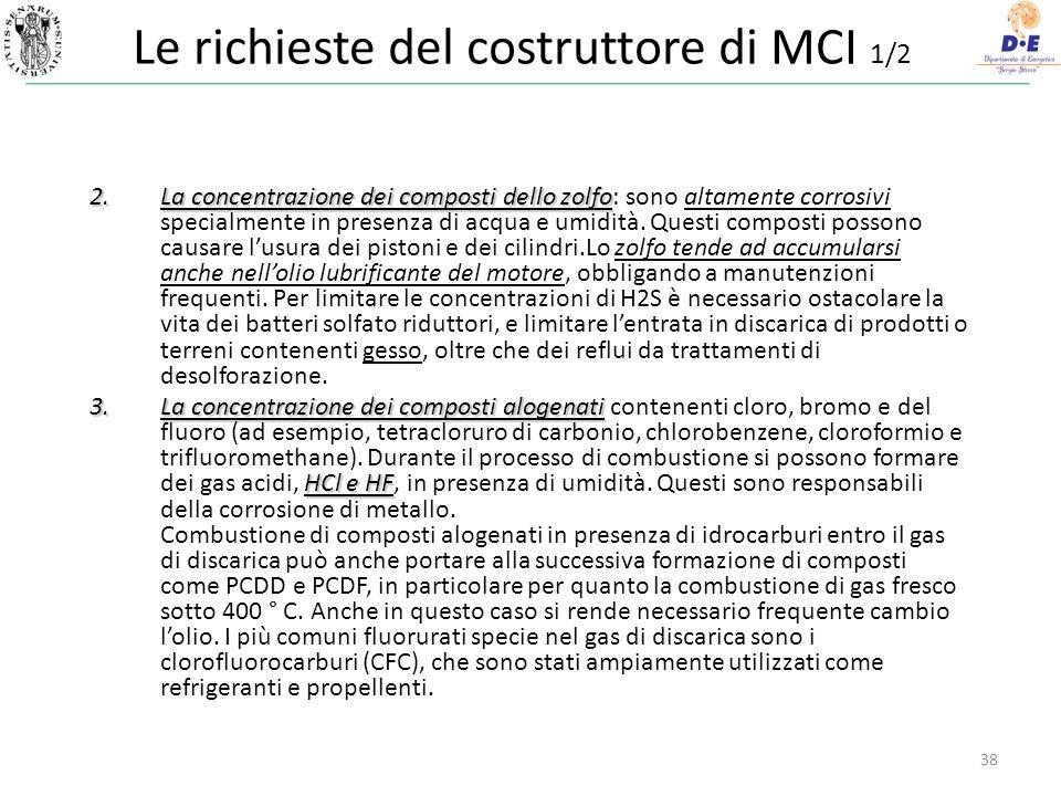 38 Le richieste del costruttore di MCI 1/2 2.La concentrazione dei composti dello zolfo 2.La concentrazione dei composti dello zolfo: sono altamente corrosivi specialmente in presenza di acqua e umidità.