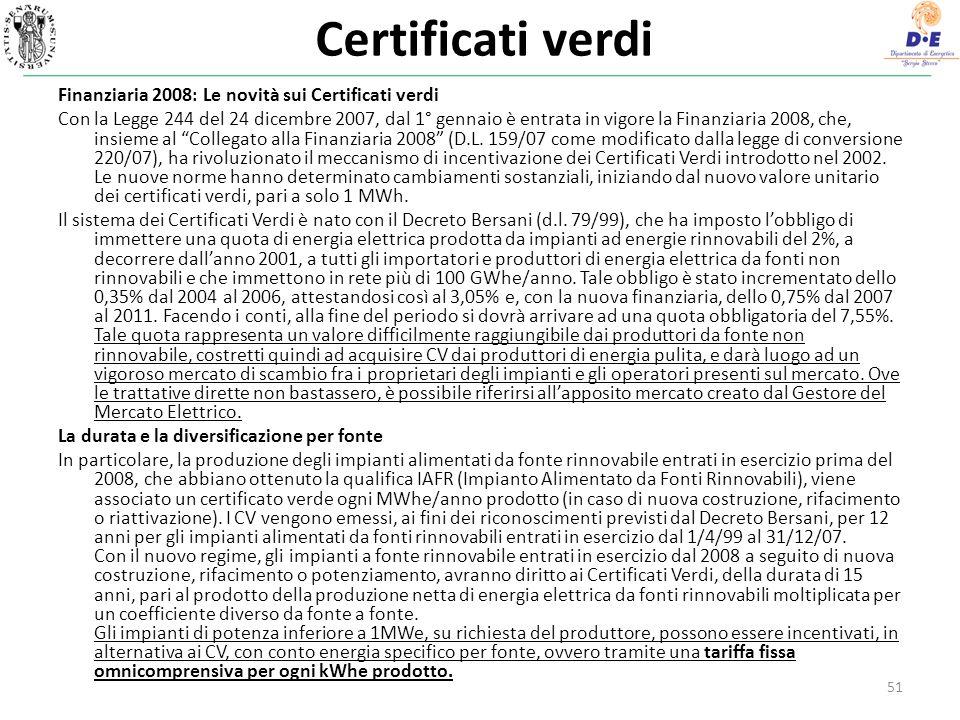 Certificati verdi Finanziaria 2008: Le novità sui Certificati verdi Con la Legge 244 del 24 dicembre 2007, dal 1° gennaio è entrata in vigore la Finanziaria 2008, che, insieme al Collegato alla Finanziaria 2008 (D.L.