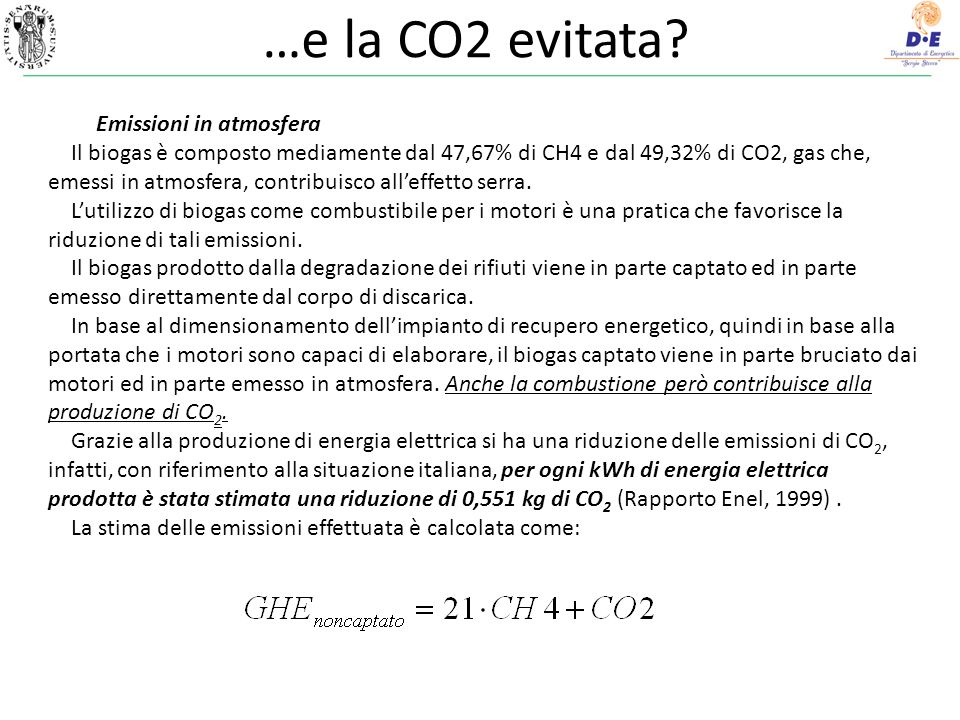 …e la CO2 evitata.