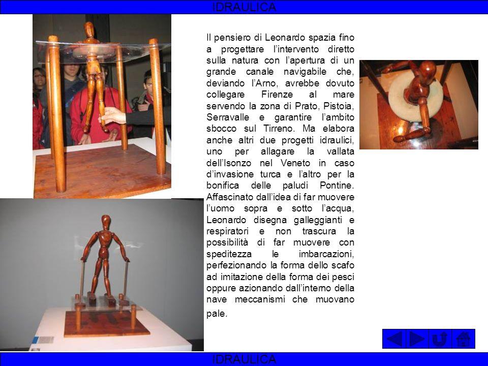 IDRAULICA Leonardo da Vinci fu affascinato dai temi della idraulica, probabilmente a partire dal 1482, anno della sua visita a Milano. Quelli che poss