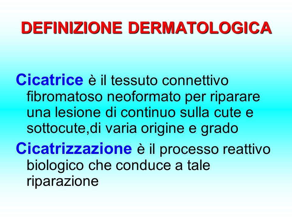 DEFINIZIONE DERMATOLOGICA Cicatrice è il tessuto connettivo fibromatoso neoformato per riparare una lesione di continuo sulla cute e sottocute,di vari