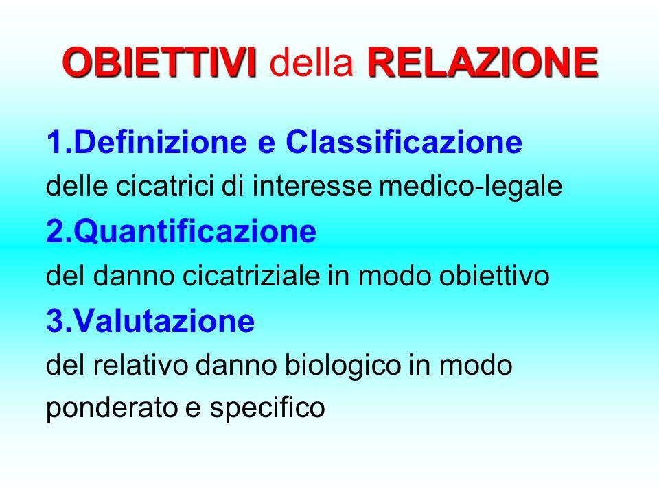 OBIETTIVI RELAZIONE OBIETTIVI della RELAZIONE 1.Definizione e Classificazione delle cicatrici di interesse medico-legale 2.Quantificazione del danno c