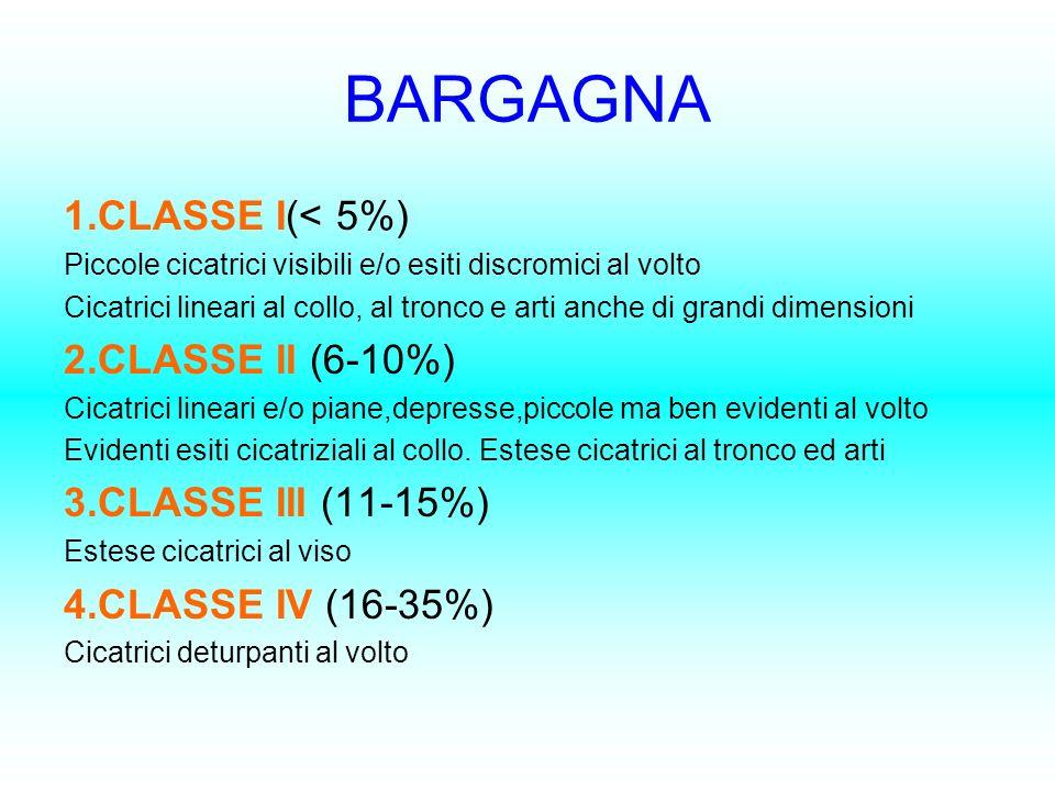 BARGAGNA 1.CLASSE I(< 5%) Piccole cicatrici visibili e/o esiti discromici al volto Cicatrici lineari al collo, al tronco e arti anche di grandi dimens